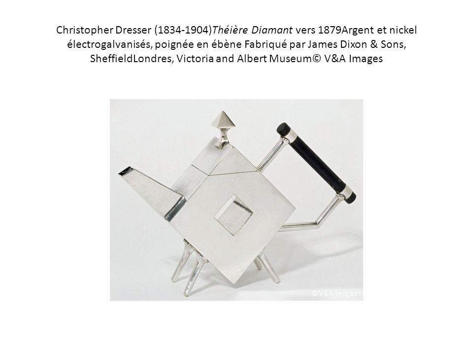 Christopher Dresser (1834-1904)Théière Diamant vers 1879Argent et nickel électrogalvanisés, poignée en ébène Fabriqué par James Dixon & Sons, Sheffiel