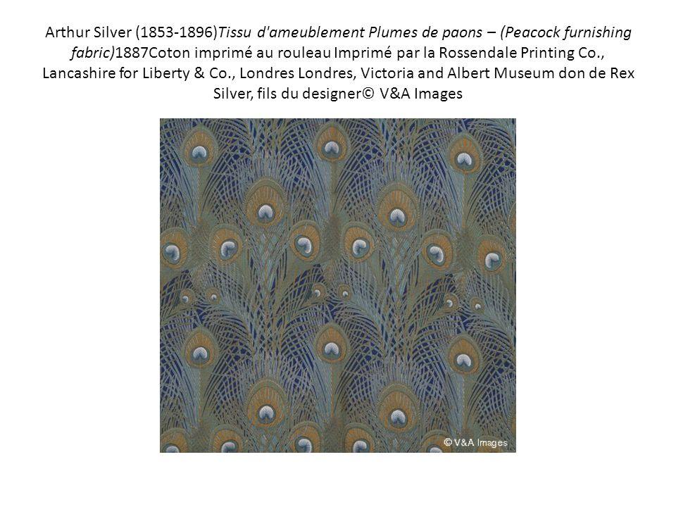 Arthur Silver (1853-1896)Tissu d'ameublement Plumes de paons – (Peacock furnishing fabric)1887Coton imprimé au rouleau Imprimé par la Rossendale Print