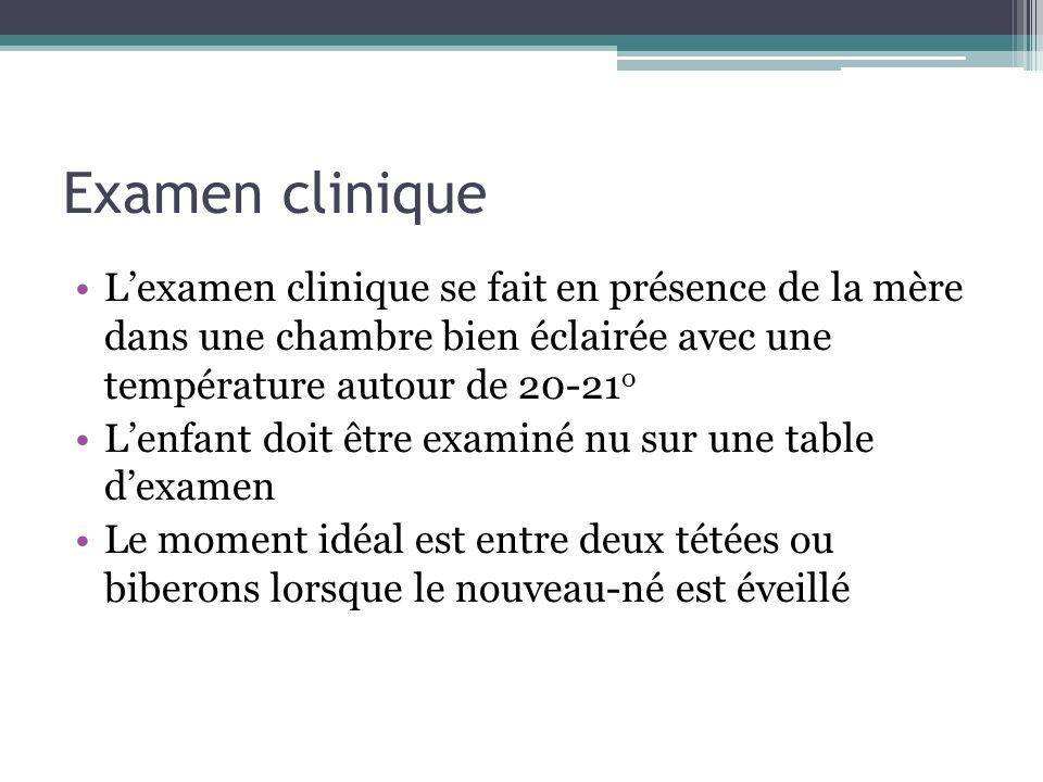 Examen clinique Lexamen clinique se fait en présence de la mère dans une chambre bien éclairée avec une température autour de 20-21 o Lenfant doit êtr