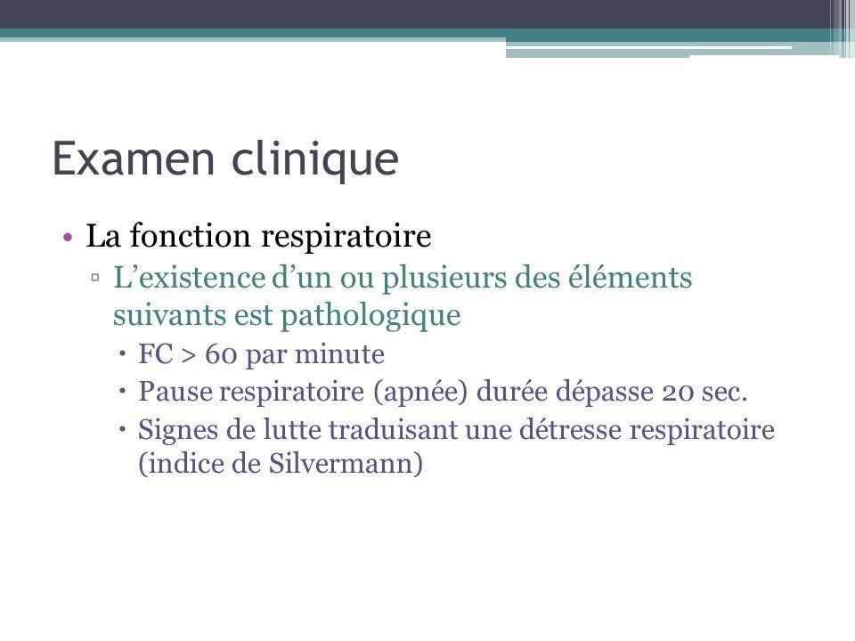 Examen clinique La fonction respiratoire Lexistence dun ou plusieurs des éléments suivants est pathologique FC > 60 par minute Pause respiratoire (apn