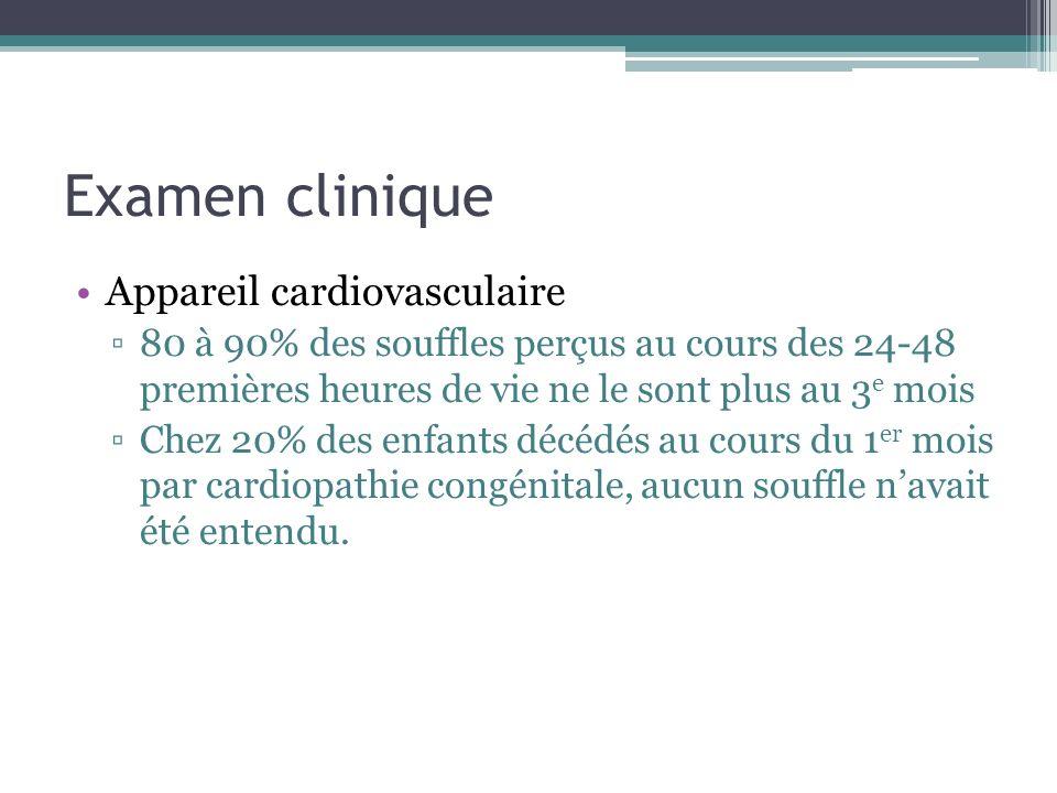 Examen clinique Appareil cardiovasculaire 80 à 90% des souffles perçus au cours des 24-48 premières heures de vie ne le sont plus au 3 e mois Chez 20%