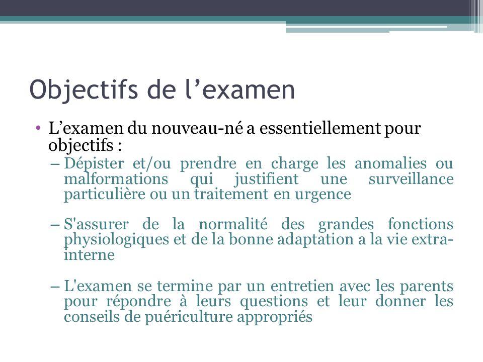 Objectifs de lexamen Lexamen du nouveau-né a essentiellement pour objectifs : – Dépister et/ou prendre en charge les anomalies ou malformations qui ju