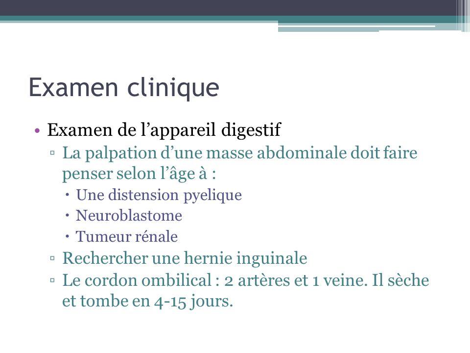 Examen clinique Examen de lappareil digestif La palpation dune masse abdominale doit faire penser selon lâge à : Une distension pyelique Neuroblastome