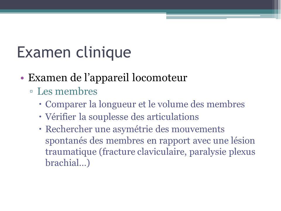 Examen clinique Examen de lappareil locomoteur Les membres Comparer la longueur et le volume des membres Vérifier la souplesse des articulations Reche
