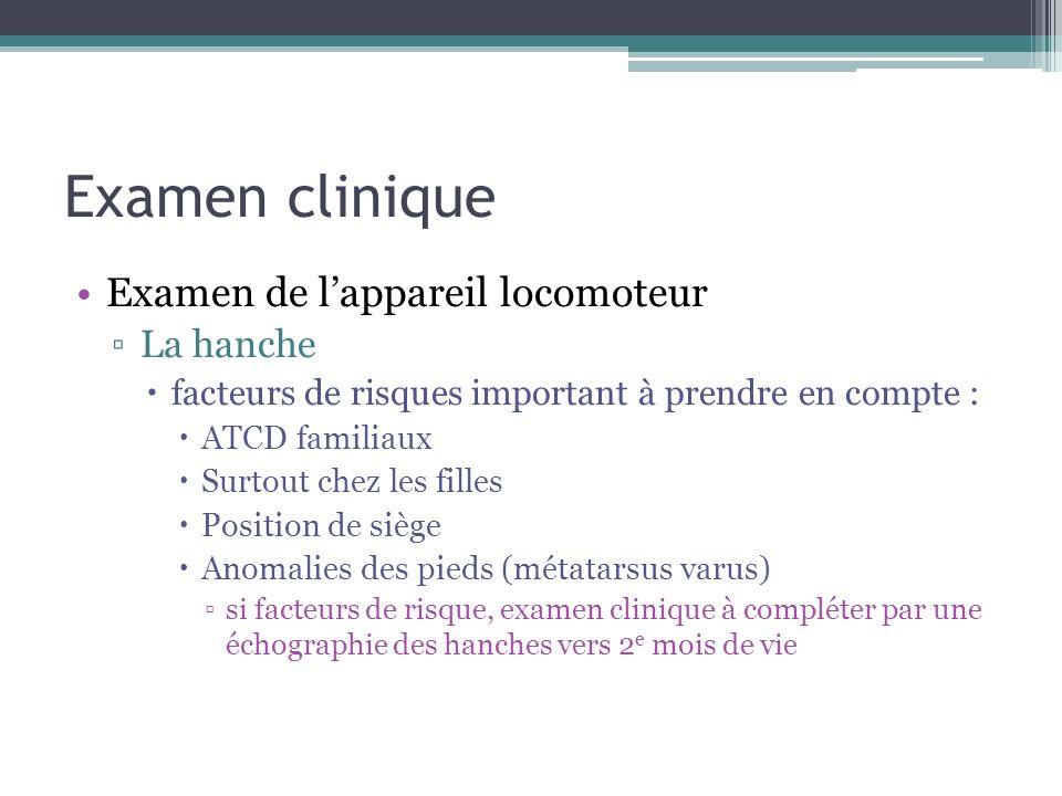 Examen clinique Examen de lappareil locomoteur La hanche facteurs de risques important à prendre en compte : ATCD familiaux Surtout chez les filles Po