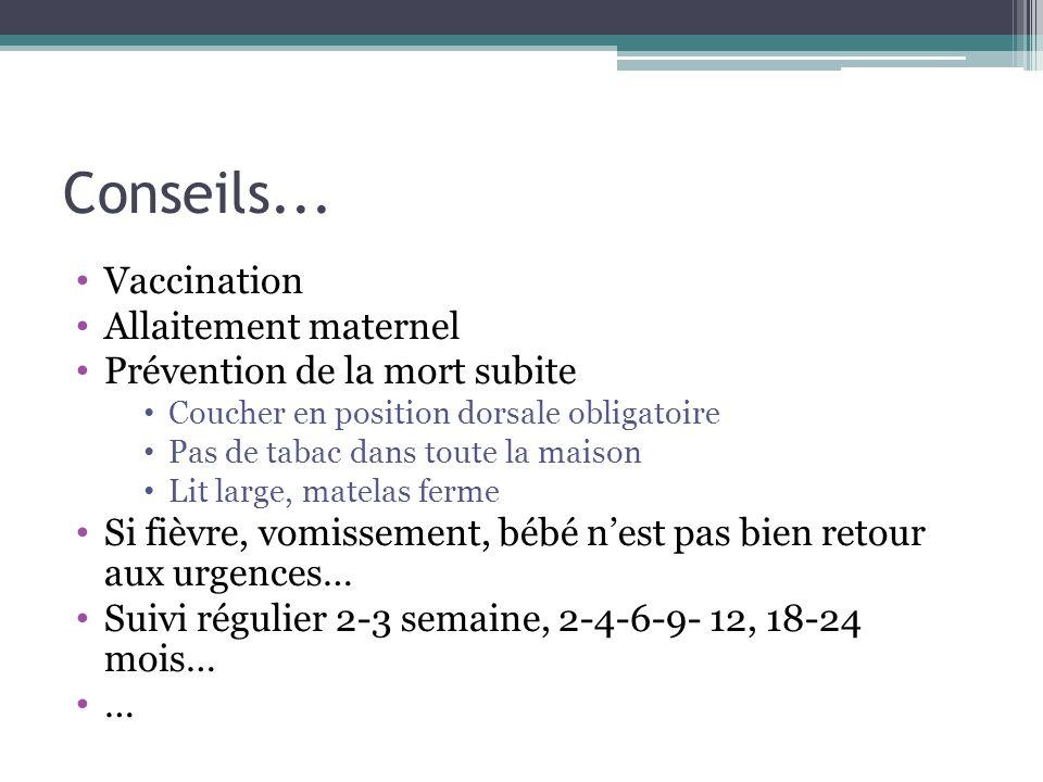 Conseils... Vaccination Allaitement maternel Prévention de la mort subite Coucher en position dorsale obligatoire Pas de tabac dans toute la maison Li