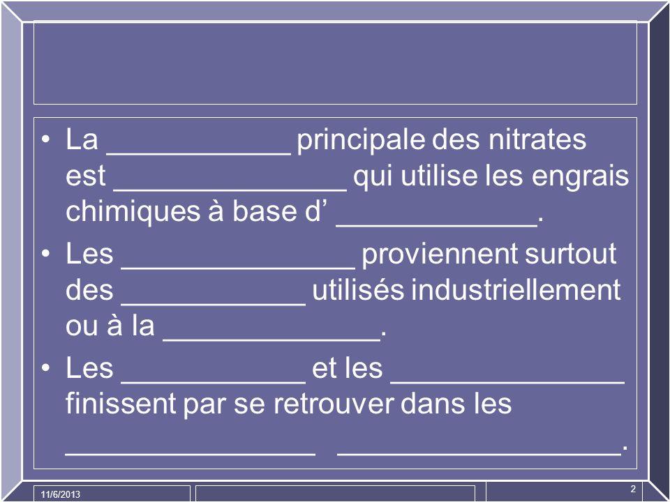 11/6/2013 2 La ___________ principale des nitrates est ______________ qui utilise les engrais chimiques à base d ____________. Les ______________ prov