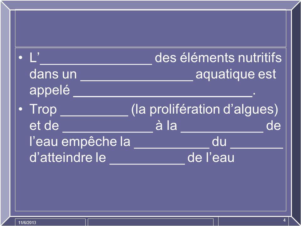 11/6/2013 4 L_______________ des éléments nutritifs dans un _______________ aquatique est appelé ________________________. Trop _________ (la prolifér