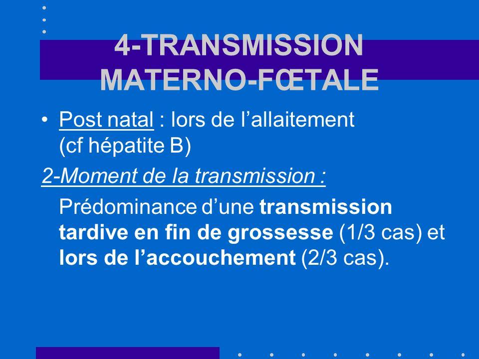 4-TRANSMISSION MATERNO-FŒTALE Post natal : lors de lallaitement (cf hépatite B) 2-Moment de la transmission : Prédominance dune transmission tardive en fin de grossesse (1/3 cas) et lors de laccouchement (2/3 cas).