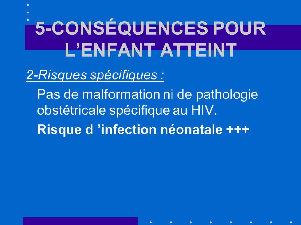 5-CONSÉQUENCES POUR LENFANT ATTEINT 2-Risques spécifiques : Pas de malformation ni de pathologie obstétricale spécifique au HIV.