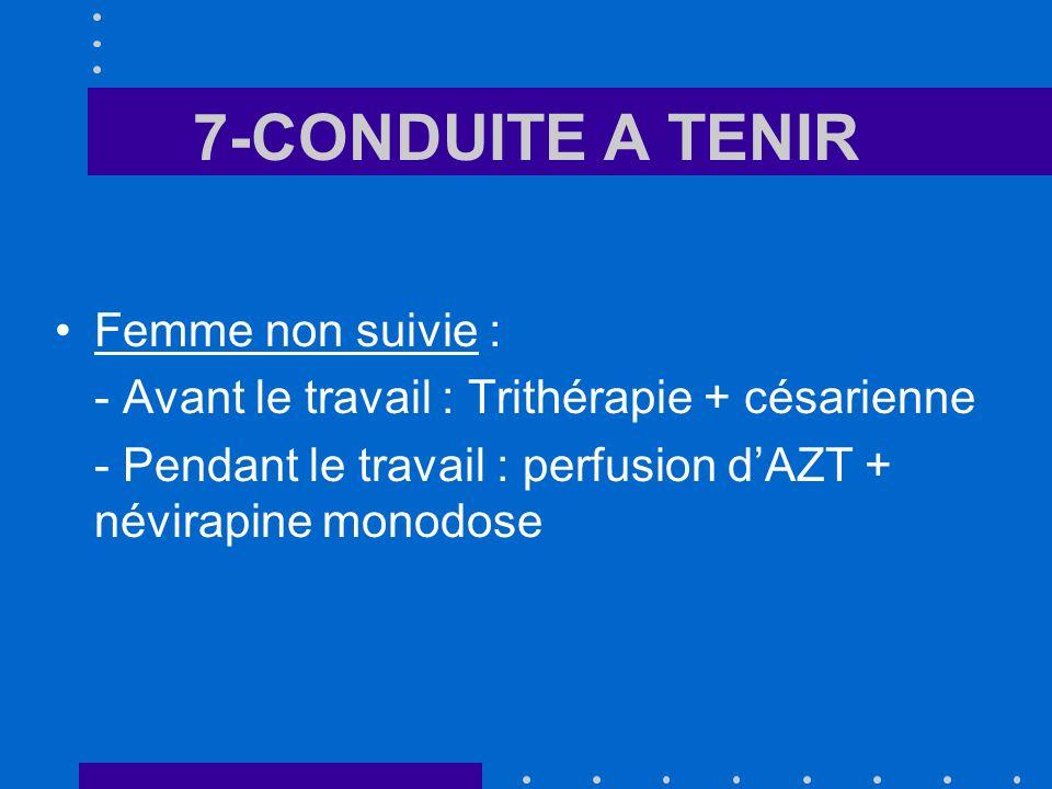 7-CONDUITE A TENIR Femme non suivie : - Avant le travail : Trithérapie + césarienne - Pendant le travail : perfusion dAZT + névirapine monodose