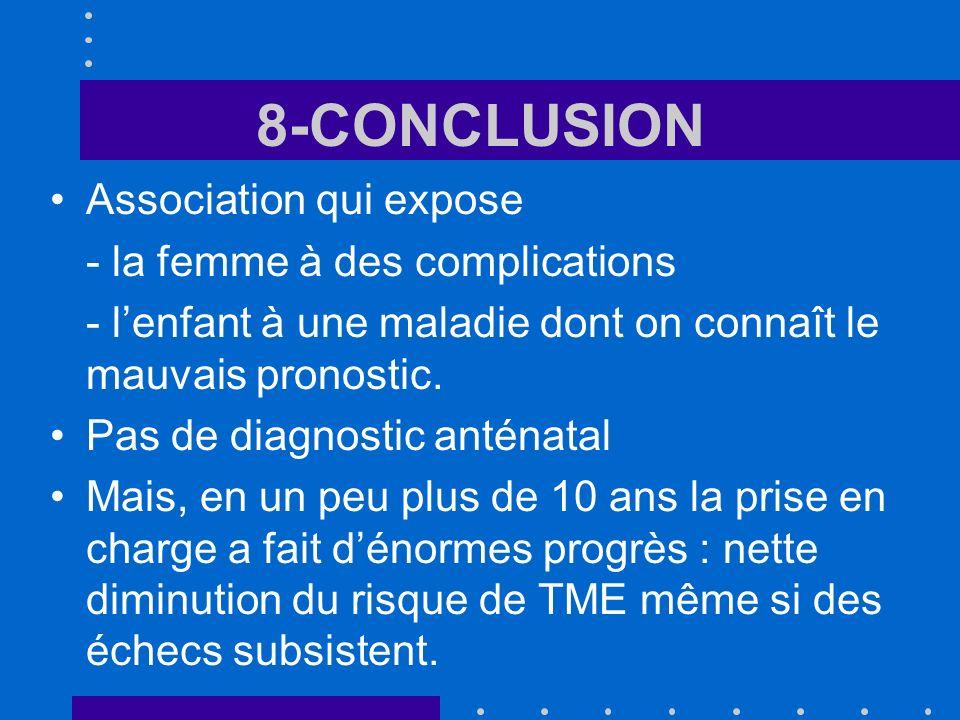 8-CONCLUSION Association qui expose - la femme à des complications - lenfant à une maladie dont on connaît le mauvais pronostic.