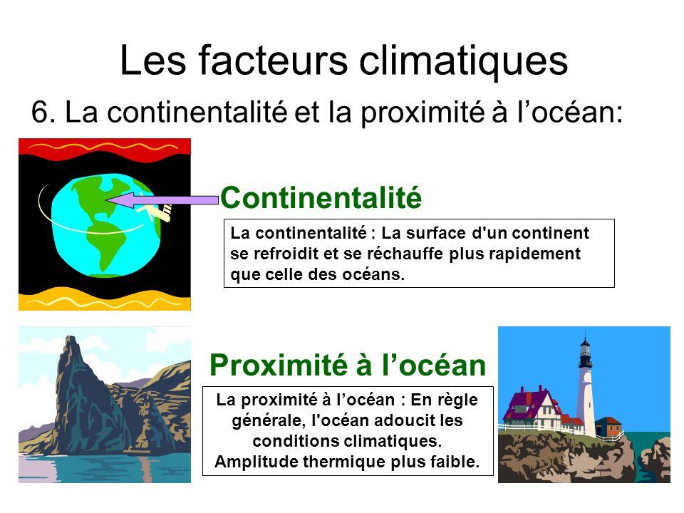 Les facteurs climatiques Continentalité Proximité à locéan La continentalité : La surface d'un continent se refroidit et se réchauffe plus rapidement
