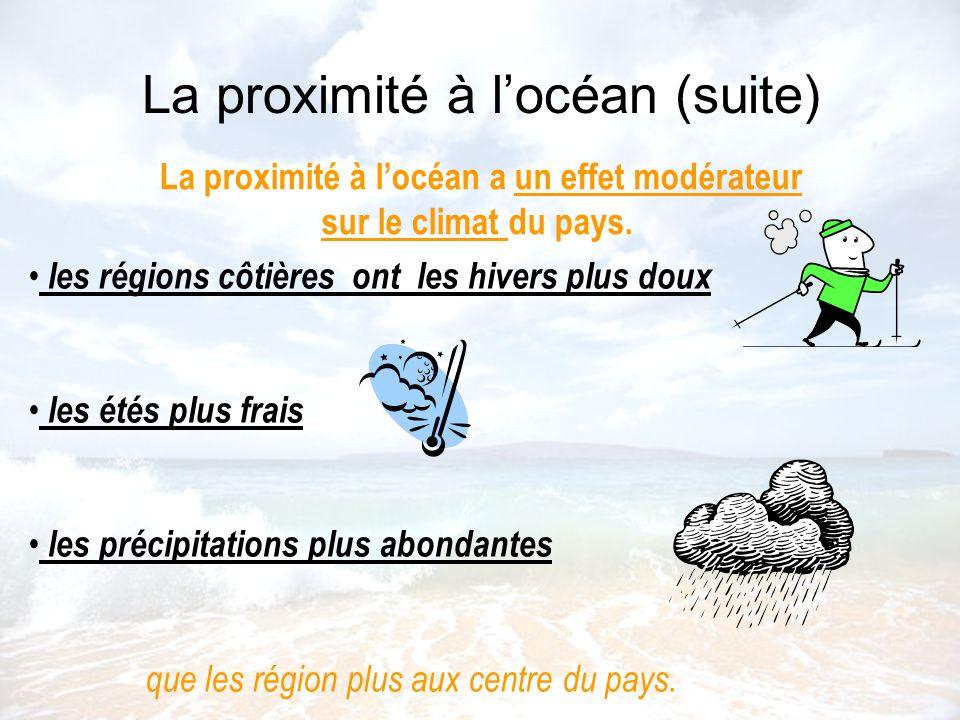 La proximité à locéan (suite) La proximité à locéan a un effet modérateur sur le climat du pays. les régions côtières ont les hivers plus doux les été
