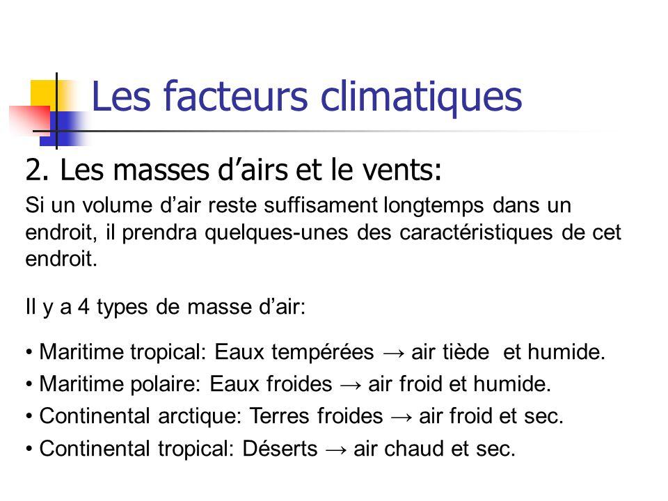 Les facteurs climatiques 2. Les masses dairs et le vents: Si un volume dair reste suffisament longtemps dans un endroit, il prendra quelques-unes des