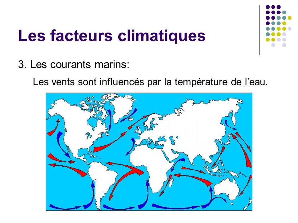 Les facteurs climatiques 3. Les courants marins: Les vents sont influencés par la température de leau.
