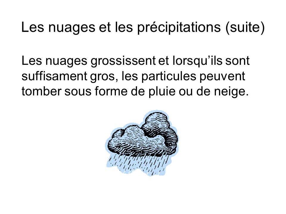 Les nuages et les précipitations (suite) Les nuages grossissent et lorsquils sont suffisament gros, les particules peuvent tomber sous forme de pluie