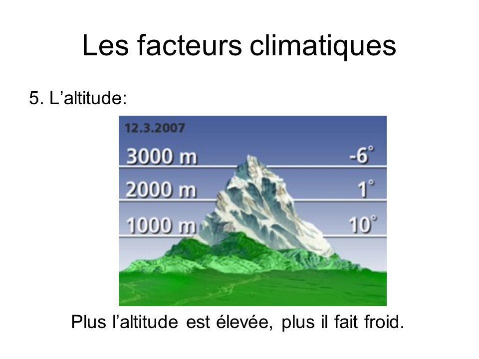 Les facteurs climatiques 5. Laltitude: Plus laltitude est élevée, plus il fait froid.