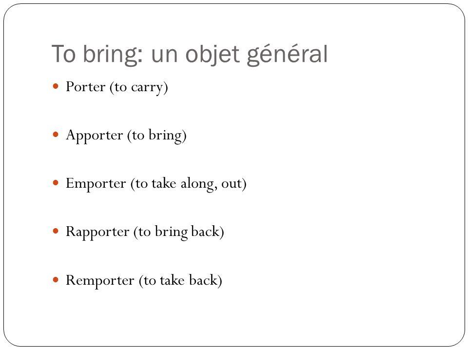 To bring: un objet général Porter (to carry) Apporter (to bring) Emporter (to take along, out) Rapporter (to bring back) Remporter (to take back)