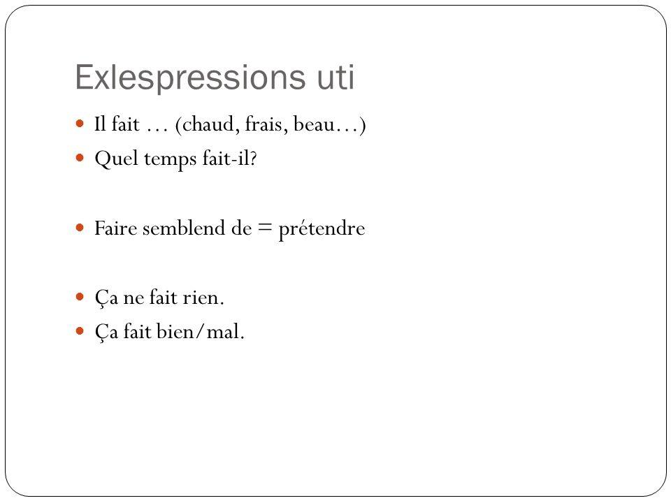 Exlespressions uti Il fait … (chaud, frais, beau…) Quel temps fait-il? Faire semblend de = prétendre Ça ne fait rien. Ça fait bien/mal.
