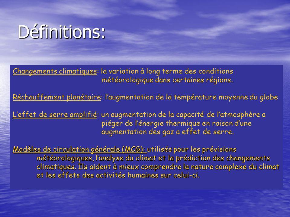 Définitions: Changements climatiques: la variation à long terme des conditions météorologique dans certaines régions. Réchauffement planétaire: laugme