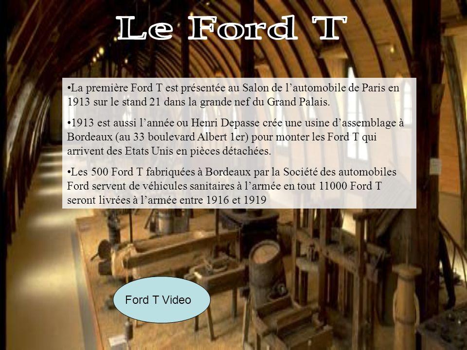 Ford T Video La première Ford T est présentée au Salon de lautomobile de Paris en 1913 sur le stand 21 dans la grande nef du Grand Palais.