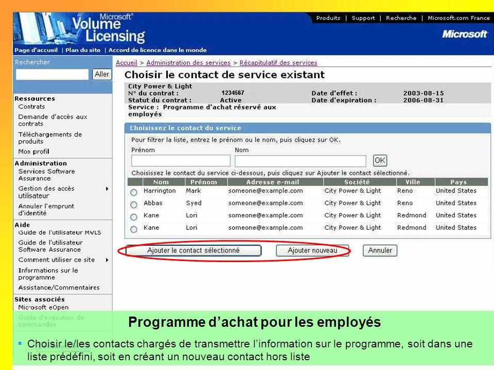 Programme dachat pour les employés Choisir le/les contacts chargés de transmettre linformation sur le programme, soit dans une liste prédéfini, soit e
