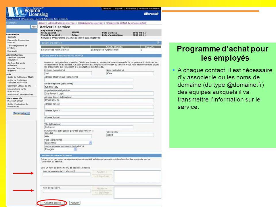 Programme dachat pour les employés A chaque contact, il est nécessaire dy associer le ou les noms de domaine (du type @domaine.fr) des équipes auxquel