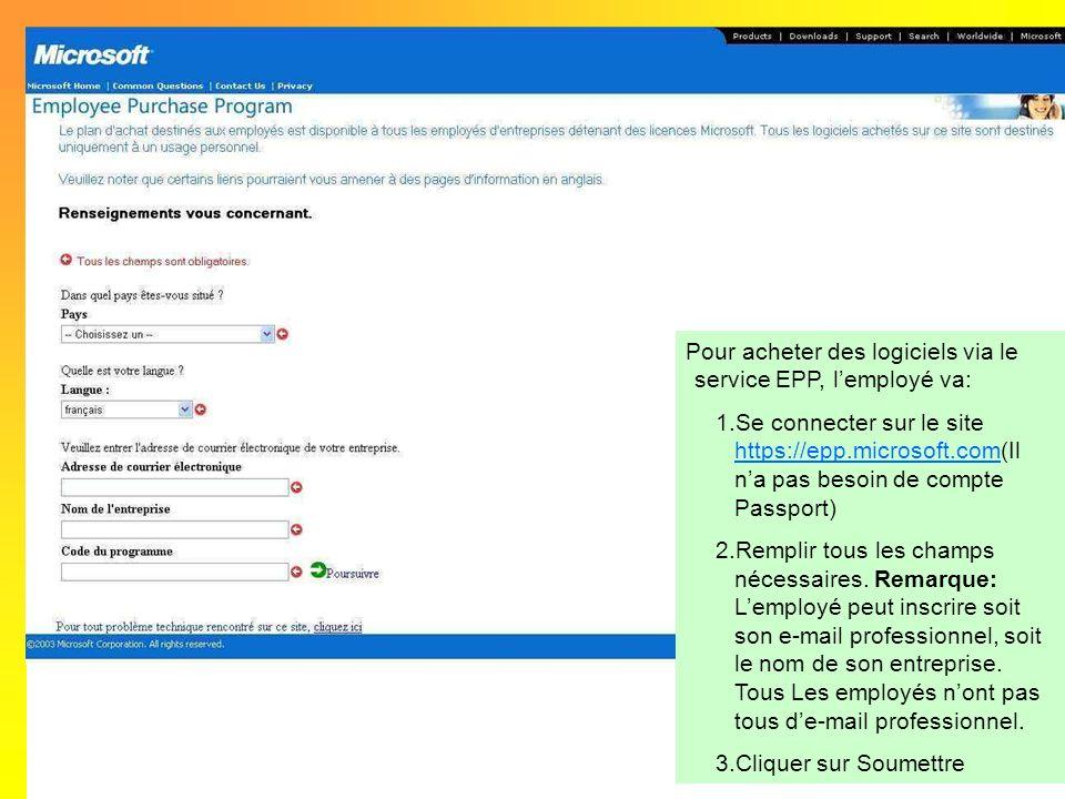 Pour acheter des logiciels via le service EPP, lemployé va: 1.Se connecter sur le site https://epp.microsoft.com(Il na pas besoin de compte Passport)
