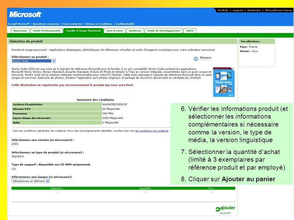 6.Vérifier les informations produit (et sélectionner les informations complémentaires si nécessaire comme la version, le type de média, la version lin