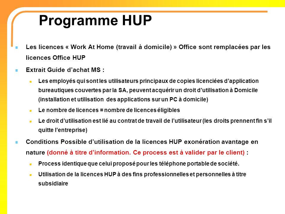 Programme HUP Les licences « Work At Home (travail à domicile) » Office sont remplacées par les licences Office HUP Extrait Guide dachat MS : Les empl