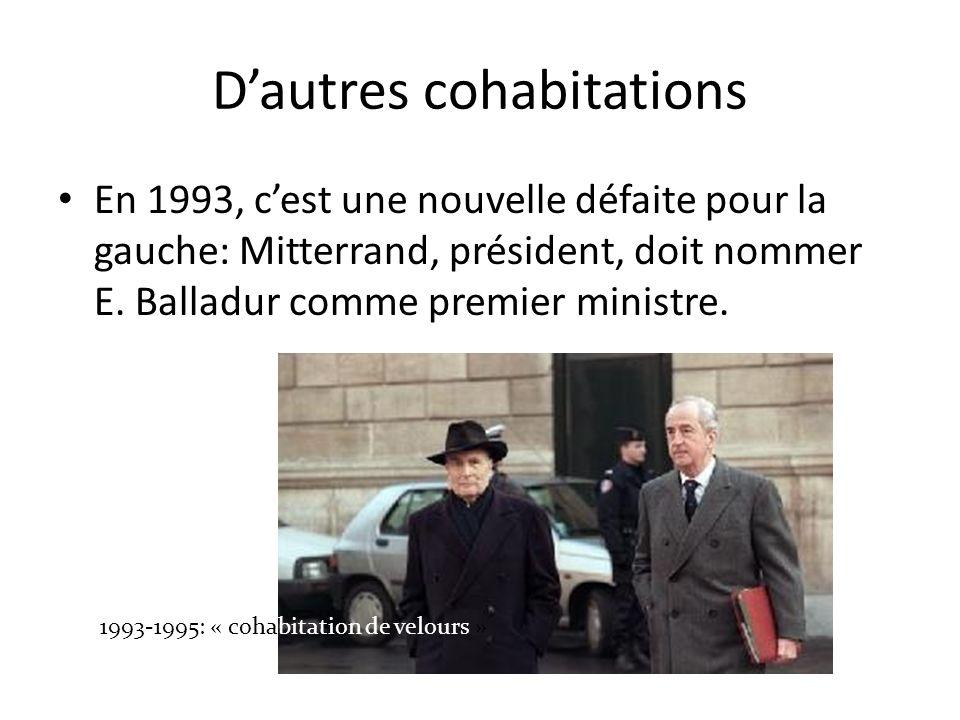 En 1995 Chirac est élu et profite donc dune large majorité à droite.