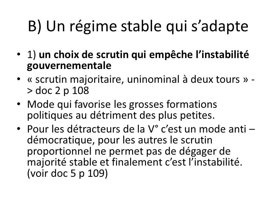 B) Un régime stable qui sadapte 1) un choix de scrutin qui empêche linstabilité gouvernementale « scrutin majoritaire, uninominal à deux tours » - > d