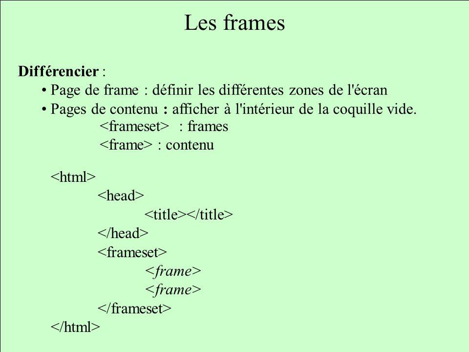 Les frames Différencier : Page de frame : définir les différentes zones de l'écran Pages de contenu : afficher à l'intérieur de la coquille vide. : fr