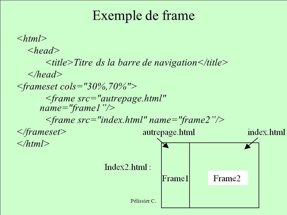 Pélissier C. Exemple de frame Titre ds la barre de navigation