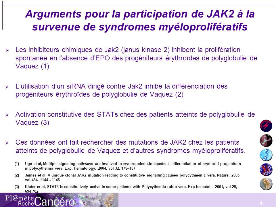 -4- Arguments pour la participation de JAK2 à la survenue de syndromes myéloprolifératifs Les inhibiteurs chimiques de Jak2 (janus kinase 2) inhibent