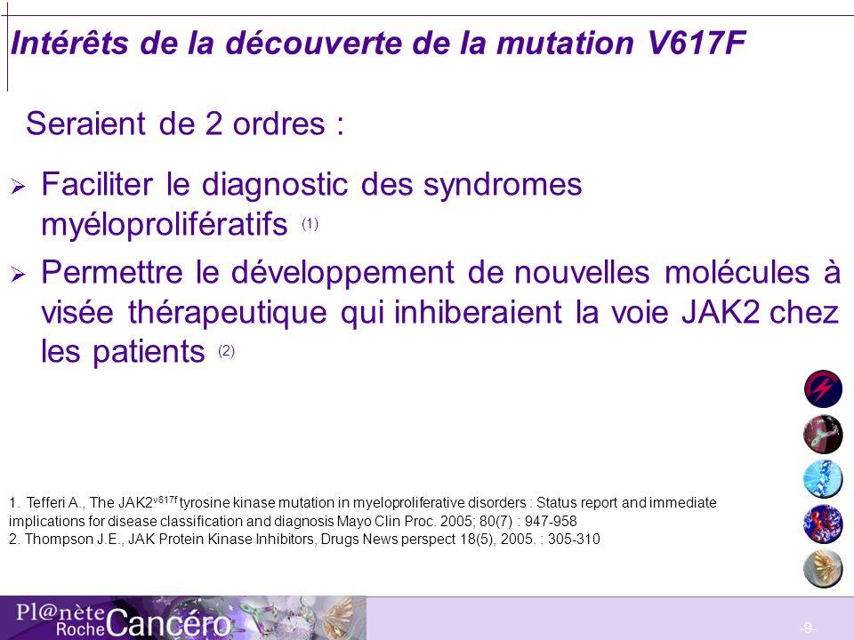 -9- Intérêts de la découverte de la mutation V617F Faciliter le diagnostic des syndromes myéloprolifératifs (1) Permettre le développement de nouvelle