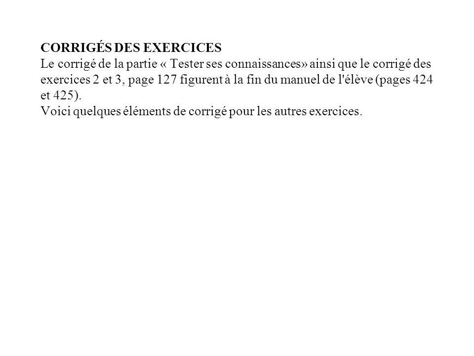 CORRIGÉS DES EXERCICES Le corrigé de la partie « Tester ses connaissances» ainsi que le corrigé des exercices 2 et 3, page 127 figurent à la fin du ma