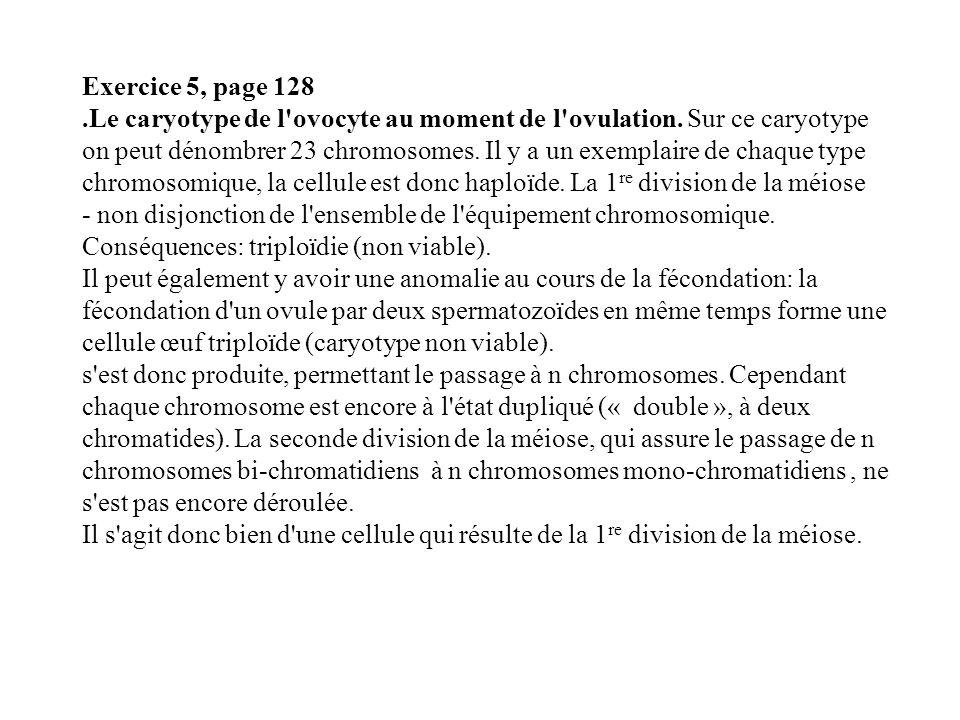 Exercice 5, page 128.Le caryotype de l'ovocyte au moment de l'ovulation. Sur ce caryotype on peut dénombrer 23 chromosomes. Il y a un exemplaire de ch