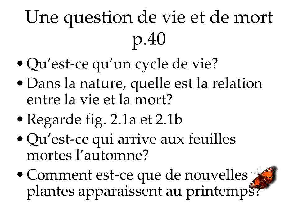 Une question de vie et de mort p.40 Quest-ce quun cycle de vie.