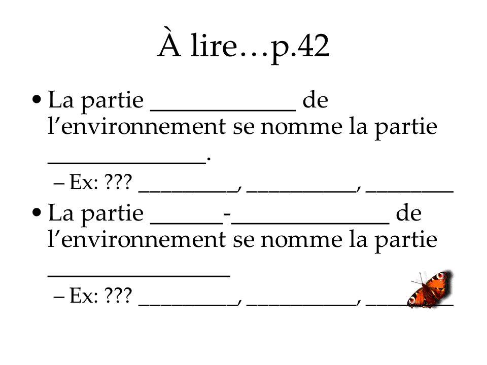 À lire…p.42 La partie ____________ de lenvironnement se nomme la partie _____________. –Ex: ??? _________, __________, ________ La partie ______-_____