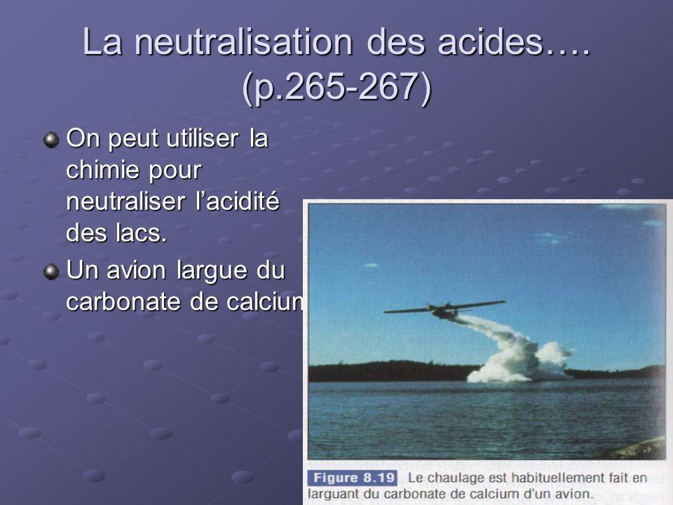 La neutralisation des acides…. (p.265-267) On peut utiliser la chimie pour neutraliser lacidité des lacs. Un avion largue du carbonate de calcium