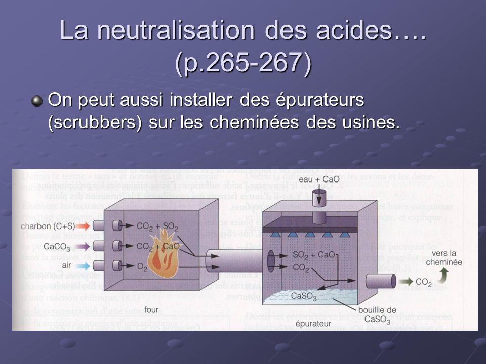 La neutralisation des acides…. (p.265-267) On peut aussi installer des épurateurs (scrubbers) sur les cheminées des usines.
