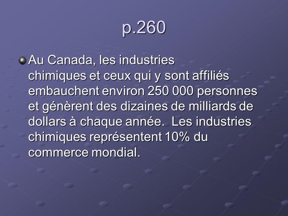 p.260 Au Canada, les industries chimiques et ceux qui y sont affiliés embauchent environ 250 000 personnes et génèrent des dizaines de milliards de do