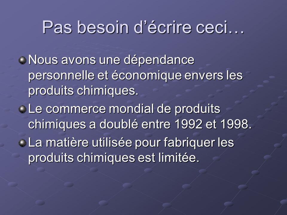 Pas besoin décrire ceci… Nous avons une dépendance personnelle et économique envers les produits chimiques. Le commerce mondial de produits chimiques