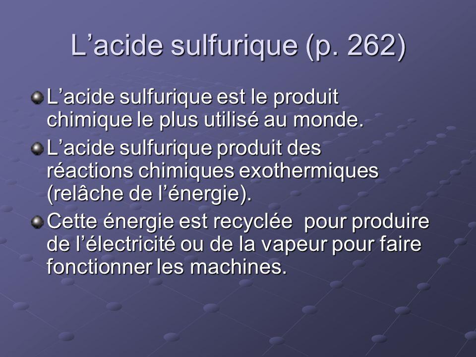 Lacide sulfurique (p. 262) Lacide sulfurique est le produit chimique le plus utilisé au monde. Lacide sulfurique produit des réactions chimiques exoth