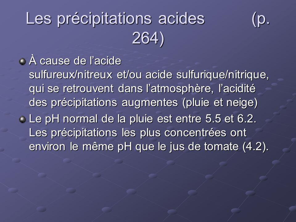 Les précipitations acides (p. 264) À cause de lacide sulfureux/nitreux et/ou acide sulfurique/nitrique, qui se retrouvent dans latmosphère, lacidité d