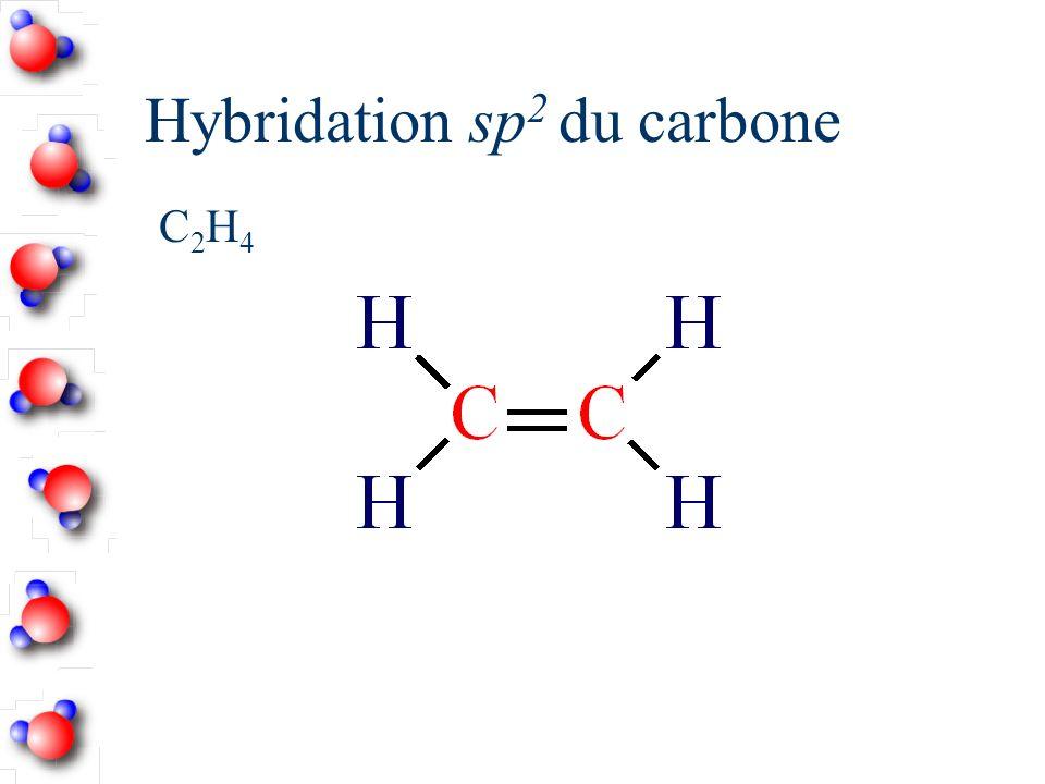 Hybridation sp 2 Nombre d atomes liés = 3 Angle entre les orbitales hybrides = 120˚ Planaire