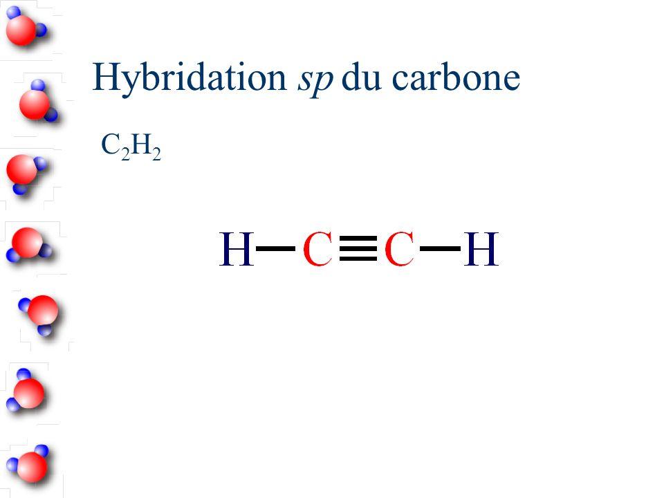 Hybridation sp Nombre d atomes liés = 2 Angle entre les orbitales hybrides = 180˚ Linéaire