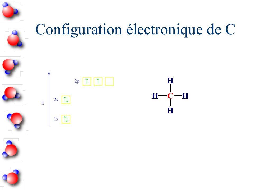 Récapitulation - Hybridation sp 3 Nombre datomes liés + le nombre de doublets libres = 4 Angle entre les orbitales hybrides = 109,5˚